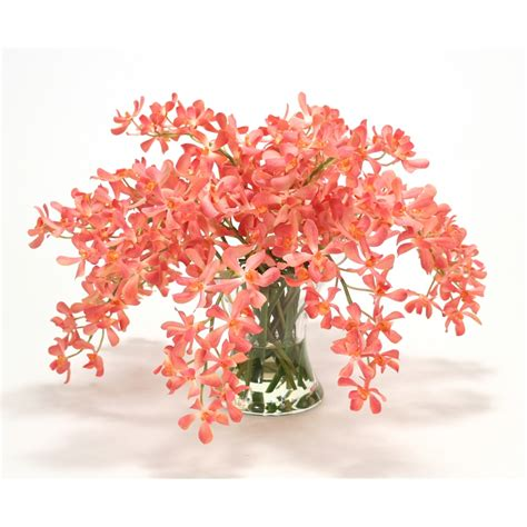 Glass Floral Vases Coral Vanda Orchids In Hourglass Vase Free Shipping In