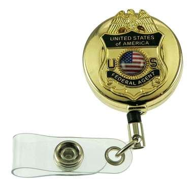 federal agent mini badge retractable id holder reel