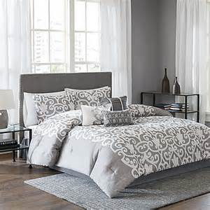 lotus comforter set in grey white www bedbathandbeyond com