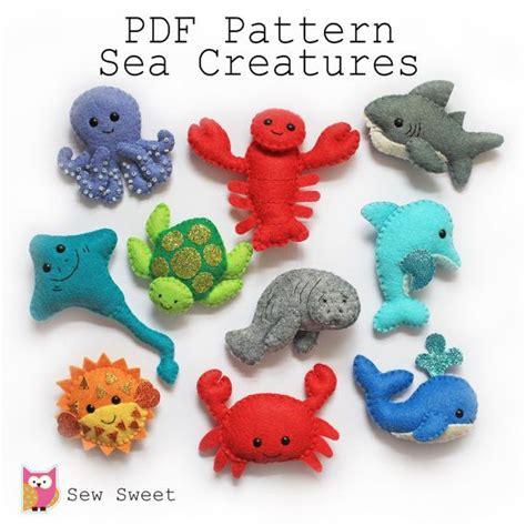 free pattern small felt animals sea creatures felt softies pdf pattern sew sweet instant