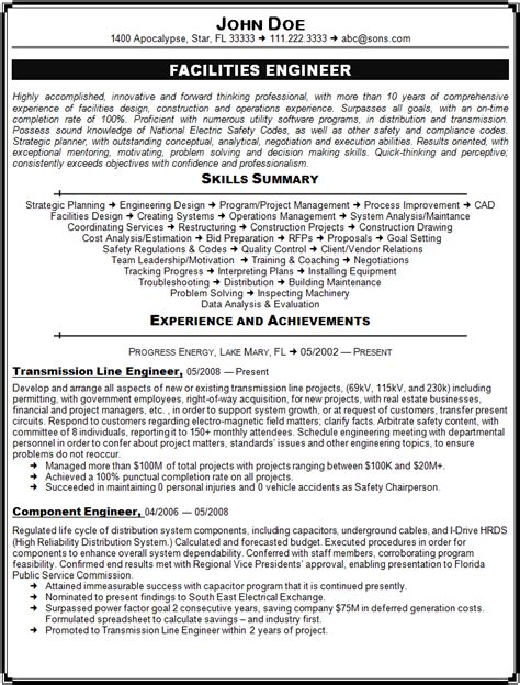 Facilities Engineer Resume Sample   Sample Resume