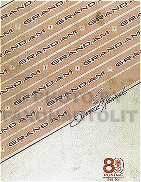 1989 pontiac grand am repair shop manual original