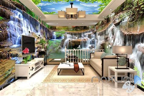 long waterfall pond entire living room business