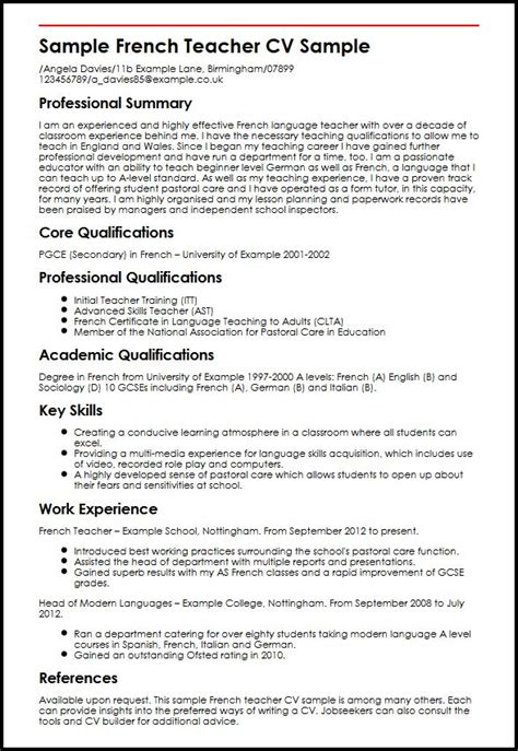 Best Resume Format For University Application by Sample French Teacher Cv Sample Myperfectcv