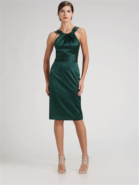 Dress Stretch david meister stretch satin cocktail dress in green navy