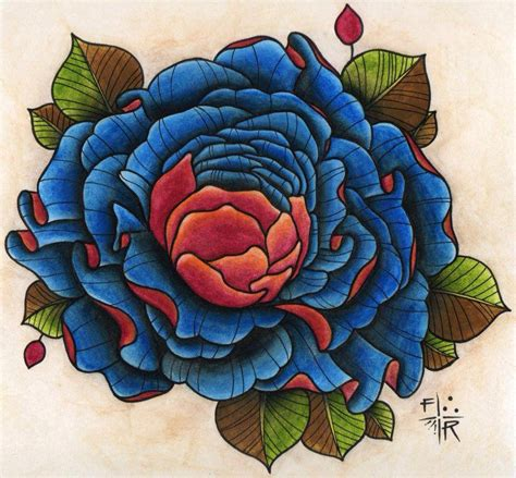 large rose tattoo designs big blue design best designs