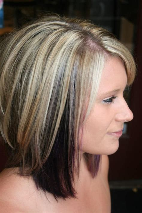 cute highlights for blondes highlights with color blocked black and purple underneath