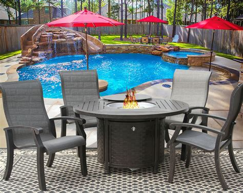 piece fire table barbados sling outdoor patio furniture