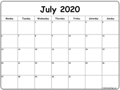 july  monday calendar monday  sunday