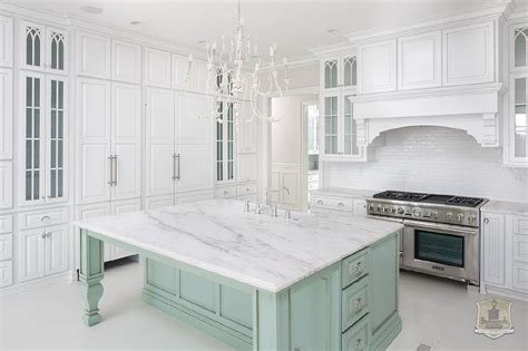 Green Kitchen Islands by White Kitchen With Mint Green Island Transitional Kitchen