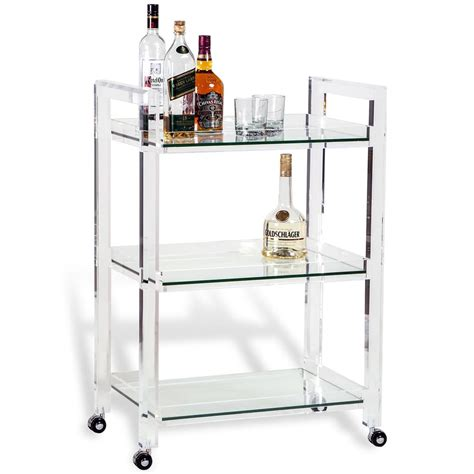 modern bar cart pennington modern acrylic and glass serving bar cart kathy kuo home