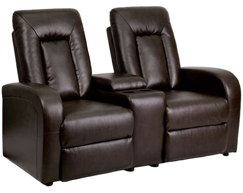 modern home theater chaise console reclining brown brown leather 2 seat home theater console recliner from