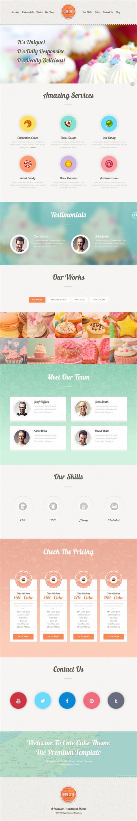 theme wordpress one page responsive cute cake responsive one page wordpress theme on