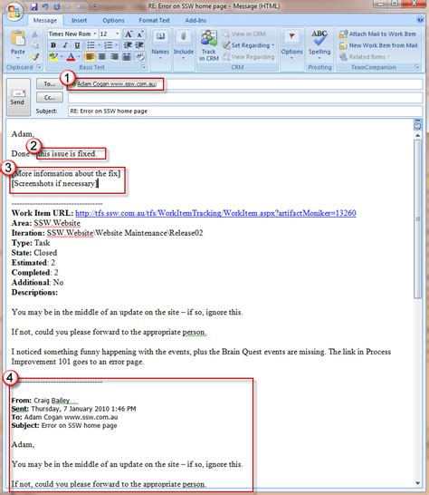 email format needs fixing rules to better project management with tfs creating and