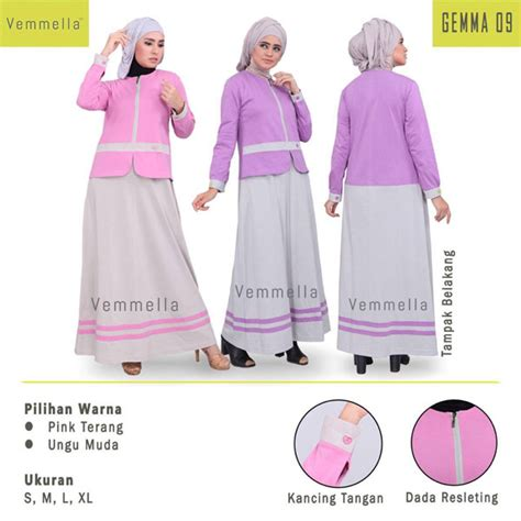 Gamis Muslimah Vemella V Gemma 08 Gamis Soft Carded Gamis Busui Gamis Rumah Madani Busana Muslim