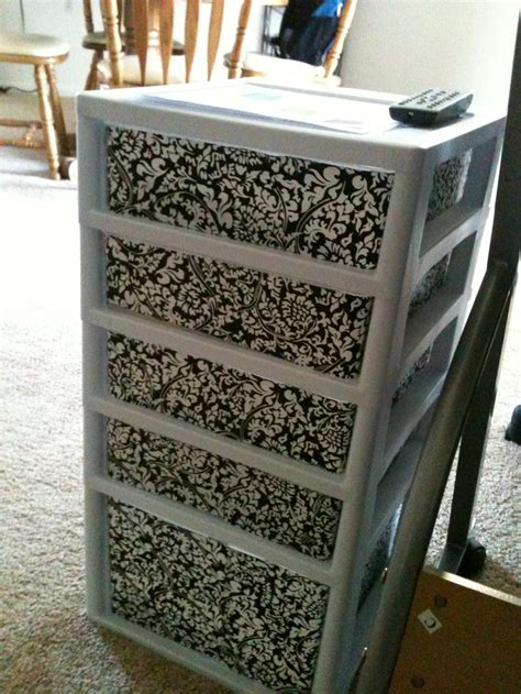 How To Decorate Sterilite Drawers by Contact Paper Used To Decorate Plain Plastic Drawer Unit