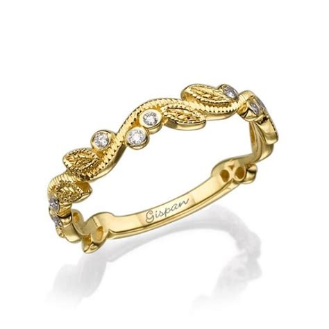 leaves wedding ring 14k yellow gold ring with diamonds in