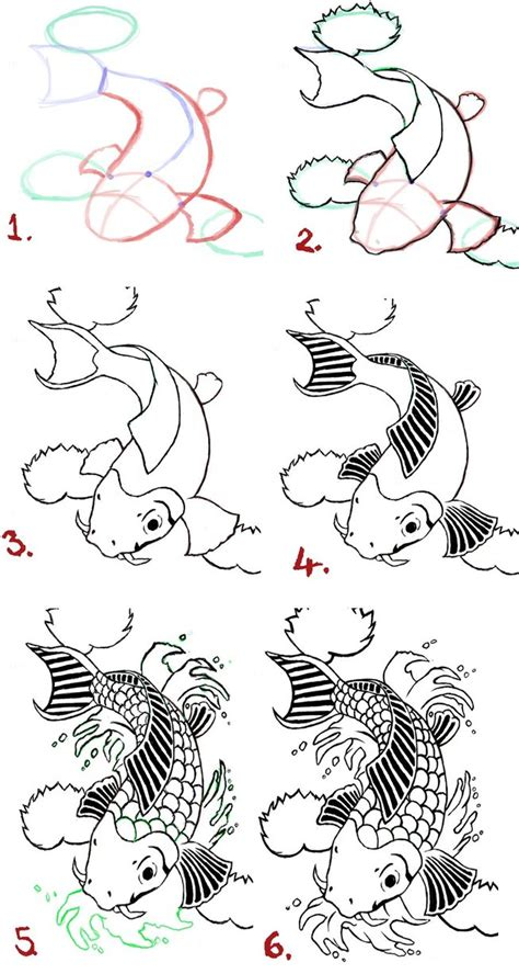 easy tattoo drawing step by step koi fish drawing steps by wenwecollide on deviantart