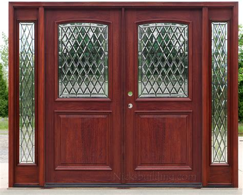 Exterior Double Doors With Sidelights Solid Mahogany Doors Mahogany Front Doors With Glass