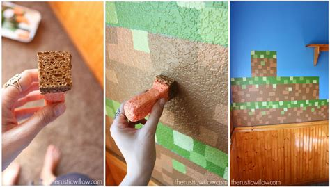 Colors For Bedroom Walls Diy Sponge Painted Minecraft Walls The Rustic Willow