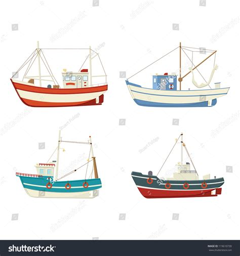 side of a fishing boat four colourful vector fishing boats side stock vector