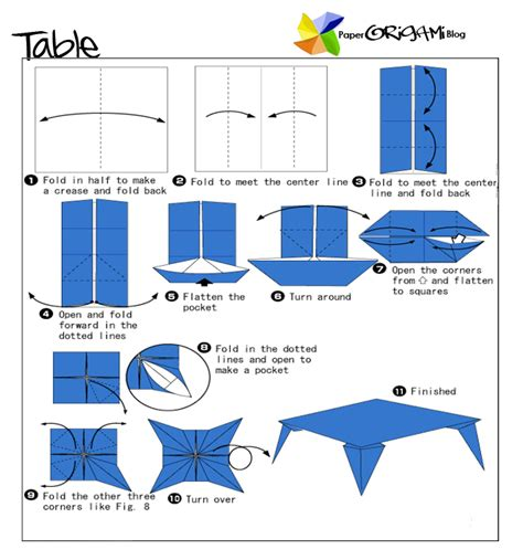 How To Make A Paper Table - furnitures origami a table paper origami guide