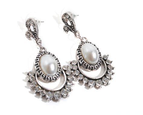 vintage silver pearl earrings always by diaz