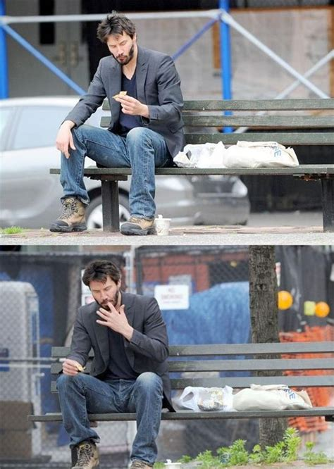 keanu reeves on a bench sad keanu reeves meme damn cool pictures