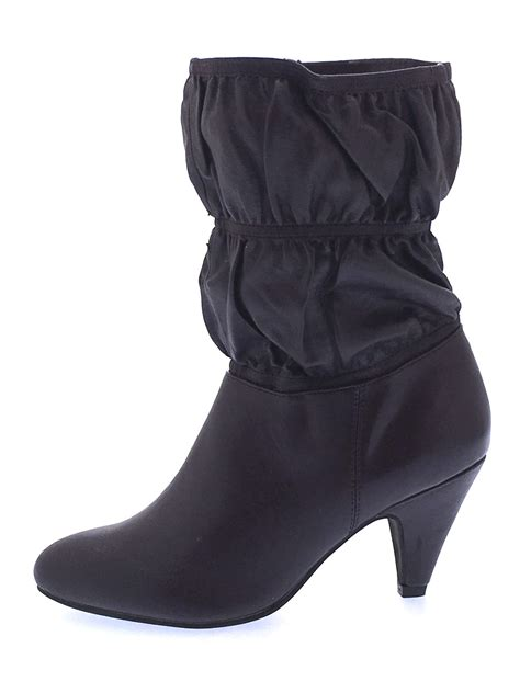 Faux Leather Mid Calf Boots womens mid calf high heel boots faux leather ruffle slouch