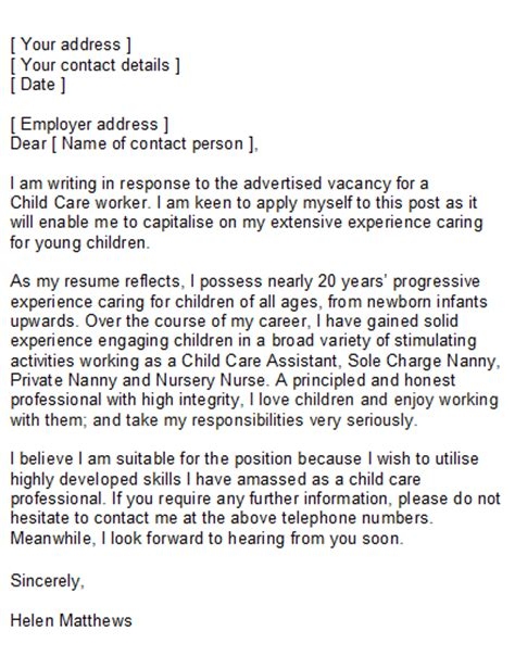 cover letter for child care child care nanny cover letter sle