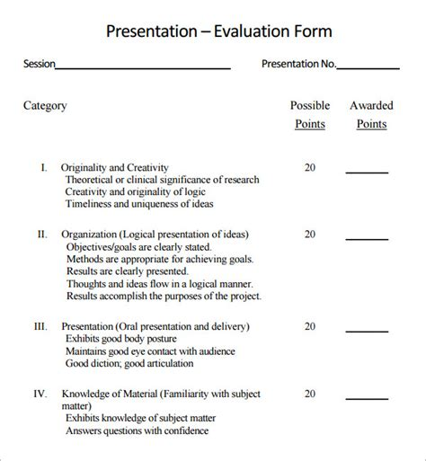 Presentation Evaluation Template Forms   Pet Land.info