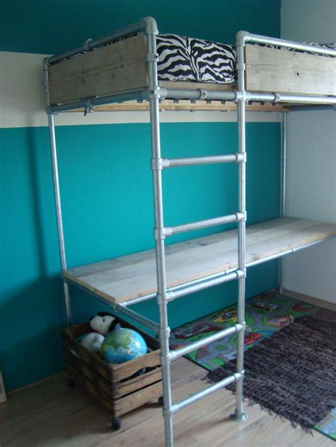 pipe bed loft bed and desk made with kee kl fittings and pipe