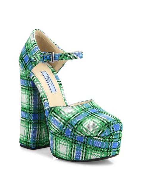 Cammie Hill Patent Leather Cinch Clutch by Lyst Prada Plaid Ankle Platform Pumps In Green