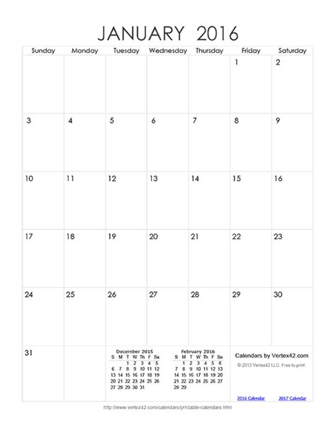printable monthly calendar 2016 vertex vertex42 calendars 2016 calendar template 2016