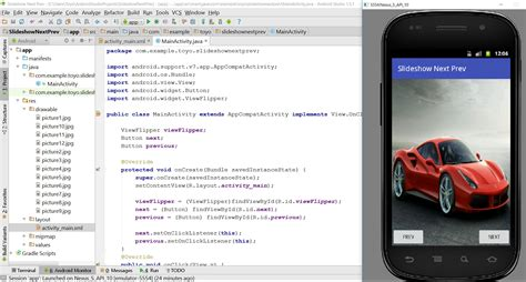 android onclicklistener slideshow with next and prev buttons in android studio 1 5 1