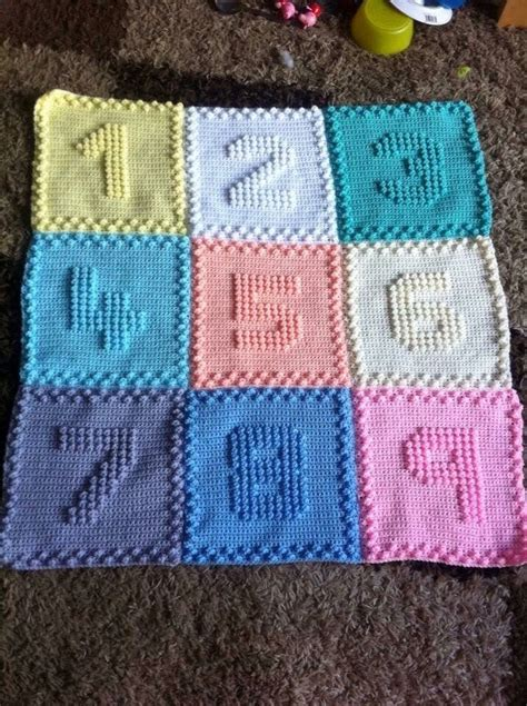Number Of Blankets For Baby by Pinspiration Pic Only Crochet Bobble Number Baby Blanket