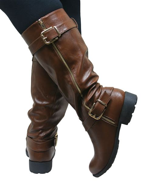 womens brown leather biker boots womens knee high flat low chunky heel wide fit biker