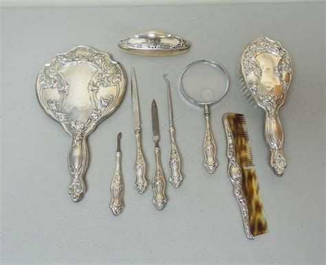 Sterling Silver Vanity Set by Beautiful Antique 9 Pc Sterling Silver Nouveau