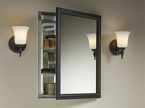 french style bathroom mirror aluminum medicine cabinet with bronze framed mirror door