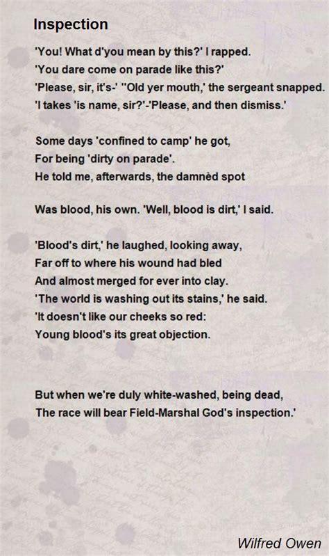 inspection poem  wilfred owen poem hunter