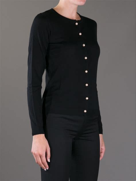 Three Button Knit Sweater Black Product Code Fzn3452 lyst boutique moschino pearl button cardigan in black