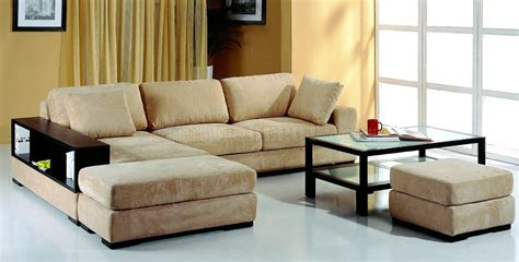 Sectional Sofas Microfiber Beige Microfiber Sectional Sofa W 2 Ottomans Bookcase