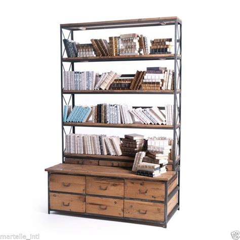 bookcase display cabinet industrial mercantile style new