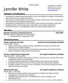 resume sles for nursing students resume cv cover letter