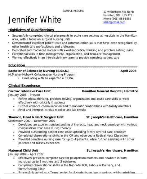 Resume Format For Nursing Students by Nursing Student Resume Exle 10 Free Word Pdf
