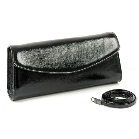 black patent clutch bag peter kaiser 99461 clutch bag detachable strap black