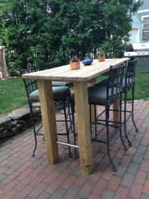 Diy Outdoor Bistro Table We Wanted A Bar Height Table So Found An Picnic Table Refinished It And Sanded Some