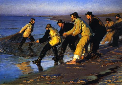 pa fish and boat fines fishermen hauling the net on skagen s north beach 1883