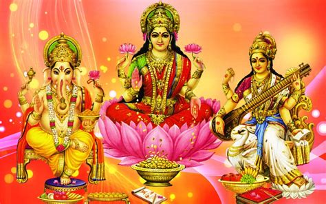 ganesh lakshmi  saraswati hd wallpaper  pc tablet  mobile