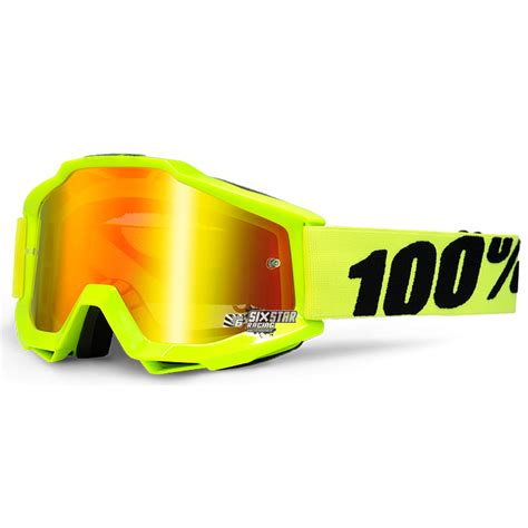 Goggle Snail Yellow Fluo 100 accuri fluo yellow goggle mirror lens sixstar racing